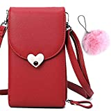 CoolYou Ladies Mini Crossbody Bag with Phone Holder Card Slots Removable Adjustable Shoulder Strap Zipper Pocket Large Capacity PU Leather Wallet Bags for Phones 6.5'-Heart Wine Red+Faux Furry Pendant