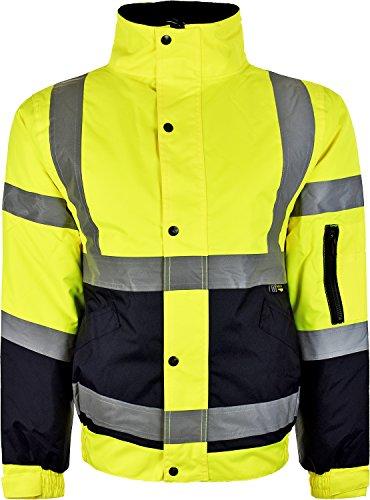 visibilidad hombre de alta Chaqueta para invierno Bomber de acolchada chaqueta cálida Amarillo qvCCE4