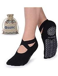 Yoga Socks for Women Non-Slip Grips & Straps, Ideal for...