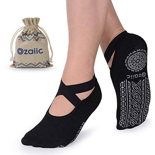 Yoga Socks for Women Non-Slip Grips & Straps, Ideal for Pilates, Pure Barre, Ballet, Dance, Barefoot Workout (Black, One size) from Ozaiic