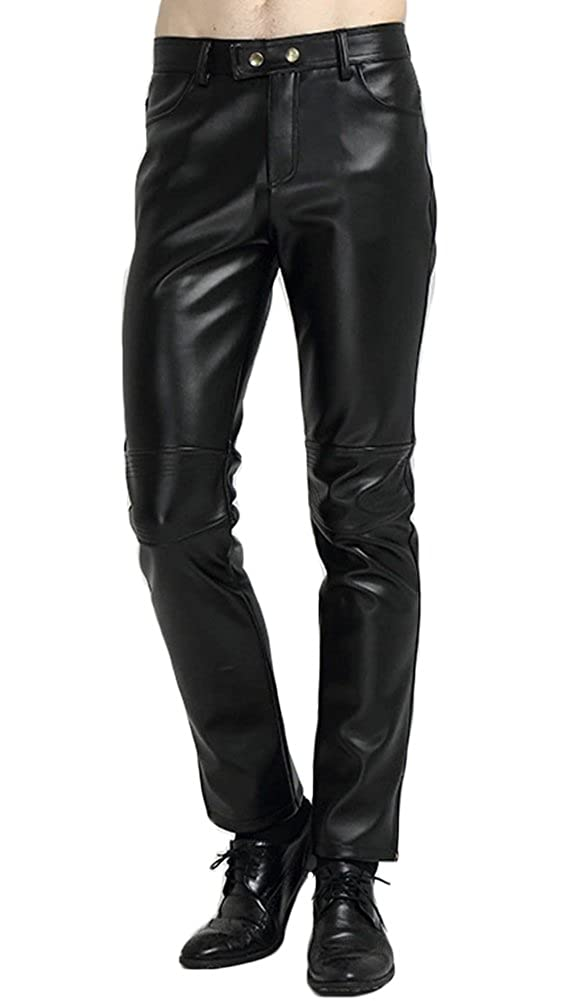 dao guan DAOGUAN Mens Faux PU Leather Skinny Moto Biker Pants Autumn and Winter Thicker Trousers