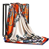 Fonshow Silk Like Scarf Neck Scarves Women's Large Square Satin Hair Scarf 35 x 35 inches (AC25)