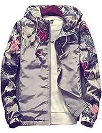 Floral Bomber Jacket Men Hip Hop Slim Fit Flowers Bomber Jacket Coat Men's Hooded Jackets Plus Size