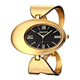 Dig dog bone Dial Quartz Wrist Watch With Hollowed-out Alloy Band And Jewelry Bracelet Clasp For Women (Color : Black)