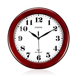 COZIME Wooden Wall Clock Atomic Radio Controlled Adjust Time Classicism Analog Clock 12 Inches - BGW612-YG