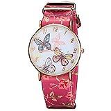 Soleasy Women's Butterfly Dial Flower PU Strap Slim Case Quartz Wristwatch WTH2915
