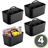 mDesign Office Supplies Desk Organizer Tote for Notebooks, Highlighters, Pens - Pack of 4, Small, Black