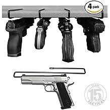 Handgun Pistol Hanger for Gun Safe Shelves / Shelving, 4 pack - fits .22 and up, 10.4 inches length