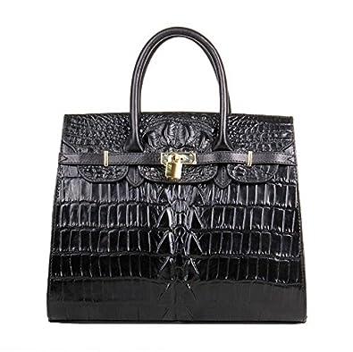 19f61df9b9 Jsix Femme sac à main besace CARTABLE Serviette EN Cuir sac à bandoulière  crocodile (croco