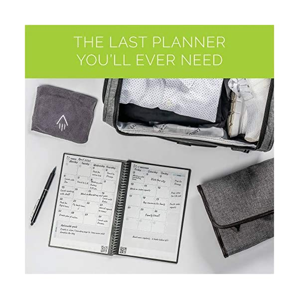 """RocketbookPanda Planner -Reusable2021 Daily,Weekly, Monthly,Planner with 1 Pilot Frixion Pen & 1 Microfiber Cloth Included - Scarlet Cover, Letter Size (8.5"""" x 11"""") 2"""