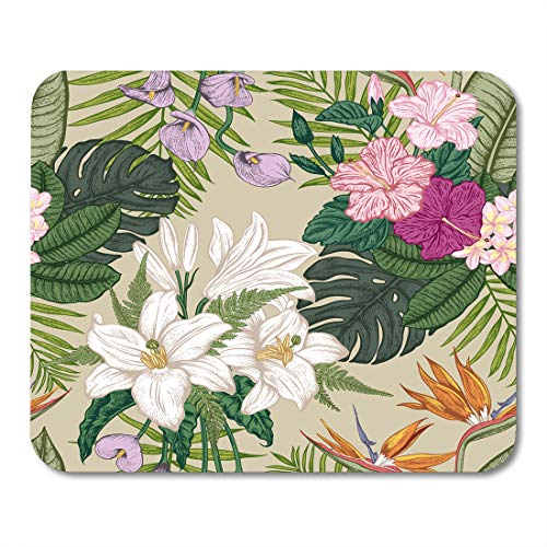 Lilies Calla Bordered (Nakamela Mouse Pads Tropical Lily with Tropica Flowers Composition Anniversary Mouse mats 9.5