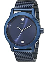 GUESS Mens Stainless Steel Diamond Dial Mesh Bracelet Watch, Color: Blue (Model: U0297G2)