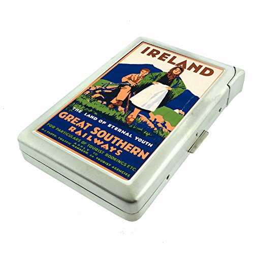 Perfection In Style Metal Cigarette Case with Built In Lighter Vintage Travel Posters Design 017