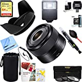 Sony SEL35F18 35mm f/1.8 Prime Fixed E-Mount Lens + 64GB Ultimate Filter & Flash Photography Bundle
