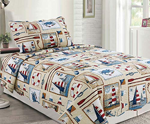 Sapphire Home 2pc Twin Size Bedspread Quilt Set Bedding for Kids Teens Boys, Sailor Boat Crab Beige Coverlet, Twin Bedspread + Pillow Sham, Twin XJ89 Sailor Beige