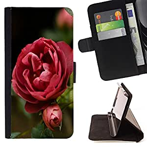 King Air - Premium PU Leather Wallet Case with Card Slots, Cash Compartment and Detachable Wrist Strap FOR HTC One M7- Rose Pink Flower Romantic Love Heart