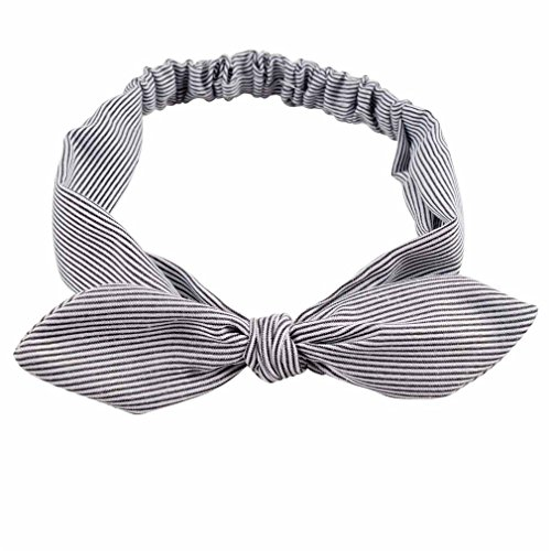 Navy Blue Striped Headband - Cotton Striped Headband For Women Lady Knotted Bow Rabbit Ear Stretch Hair Accessories Black