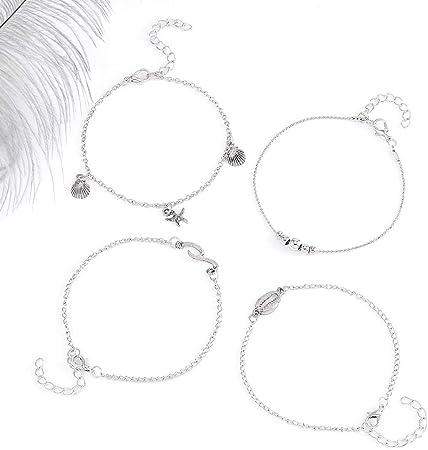 Bohond Boho Tortue Plage Bracelet Bleu Multicouches Cheville Bracelet Cercle Cheville Cristal R/églable Corde Cha/îne de pied Bijoux Pour Femmes Et Filles