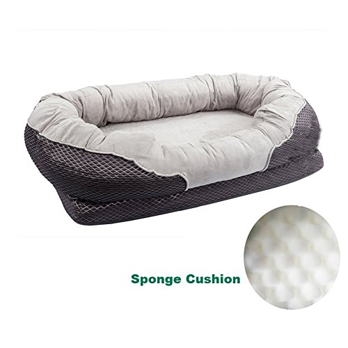 Pet Deluxe Orthopedic Dog Bed Padded Rim Cushion Nonslip Bottom, Grooved Orthopedic Foam Pet Bed Extra Comfy Cotton
