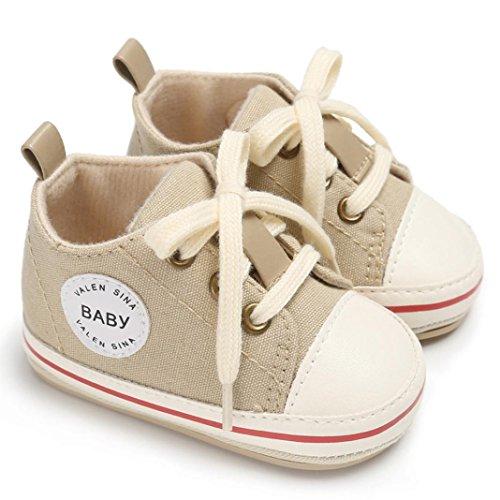 Hunpta Kleinkind Mädchen Jungen Krippe Neugeborene weiche alleinige Anti Rutsch Baby Segeltuch Schuh Turnschuhe Beige