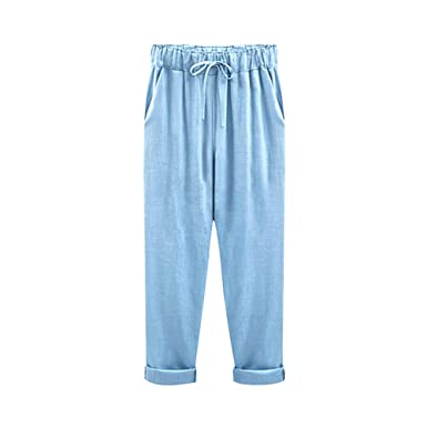 b777a11e8a7 Gooket Women s Elastic Waist Casual Relaxed Fit Capris Pants Drawstring  Cotton Linen Cropped Pants Light Blue