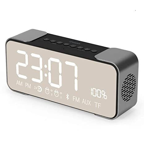 CHULENI Altavoz Bluetooth Inalámbrico Bajo Teléfono Pequeño Termómetro Mini Humedad Reloj Despertador Digital Luz Nocturna Reloj