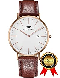 BRIGADA Swiss Watches Minimalist Waterproof Business Casual Quartz Watch for Men Women, Great Gift for Someone or Yourself