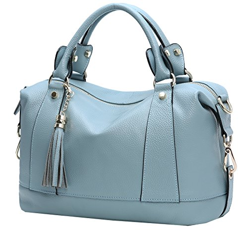 Heshe Leather Shoulder Bag Womens Tote Top Handle Handbags Cross Body Bags for Office Lady (Light Blue)