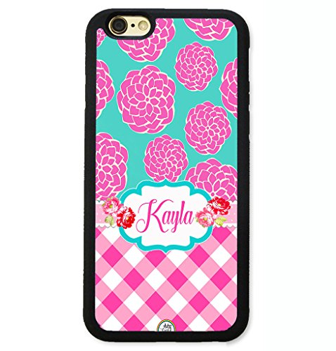 Case Dahlia Black (iPhone 8 Case, iPhone 7 Case, ArtsyCase Pink Dahlia Plaid Teal Shabby Chic Floral Monogram Personalized Name Phone Case for iPhone 7 and iPhone 8 (Black))