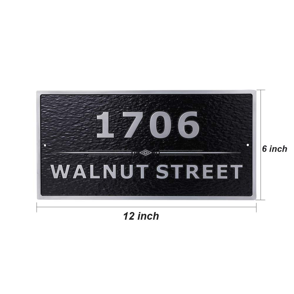 Custom Metal Address Plaque Personalized Cast with Arch top Rectangle Large Option Display Your Address and Street Name.Custom House Number Sign Wall Mounted Sign Plaque Handmade 12 x 6