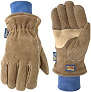 Men's Lined HydraHyde Winter Leather Work Gloves, Medium (Wells Lamont 1196), Saddl