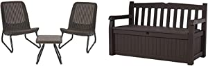 Keter Resin Wicker Patio Furniture Set with Table and Chairs, Whiskey Brown & Eden 70 Gallon Storage Bench Deck Box for Patio Furniture, Front Porch Decor and Outdoor Seating, Brown/Brown