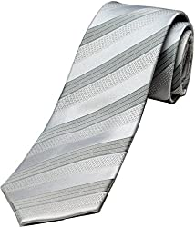 Zarrano Skinny Tie 100% Silk Woven White/Grey Classic Stripe Tie
