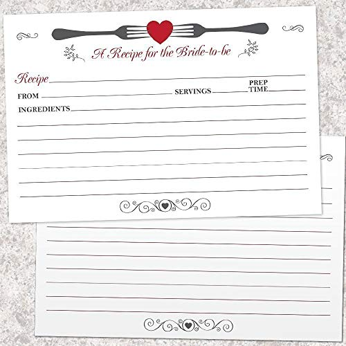 Forked Heart Bridal Shower Printed 6x4 Inch Two-Sided Recipe Cards, Set of 20