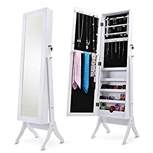 Merax Jewelry Cabinet Lockable Jewelry Armoire Organizer Mirrored Jewelry Armoire with Stand (white)