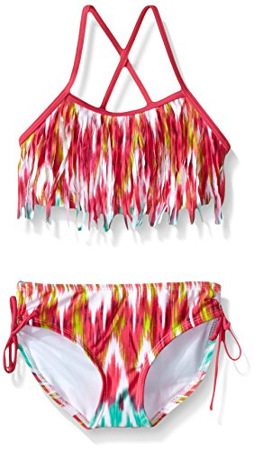 Kanu Surf Little Girls Kelly Fringe Bikini Swimsuit, Pink, 6X