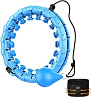 Weighted Hula Hoops for Adults, 2 in 1 Abdomen Fitness Weight Loss Massage Smart Hoola Hoop, 24 Detachable Kno