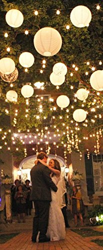 PaperLanternStore.com BULK CASE 12'' White Round Paper Lantern, Hanging Decorations, Even Ribbing, Hanging Decoration (100 Pack) by Quasimoon (Image #2)