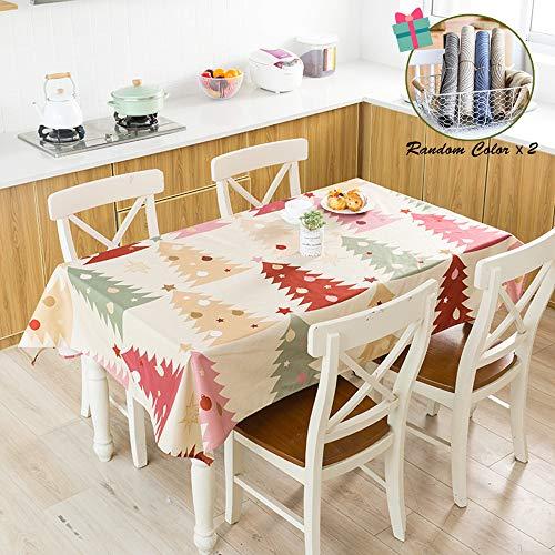 Fansu Mantel para Mesa Rectangular,Serie Navidena Minimalista Nordica Impermeable Lavable Mantel - Adecuado para Decorar Cocina Comedor Salon Restaurante (100x140cm,Arbol de Navidad)