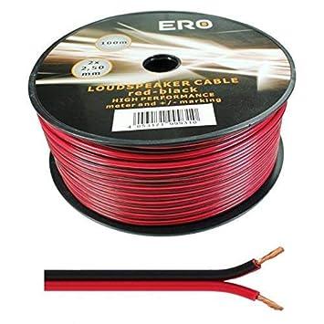Wire4U® - Cable para altavoz (2 x 0,50 mm, 50 hilos de alambre en 10, 20, 50, 100 m) 100 metres rojo/negro