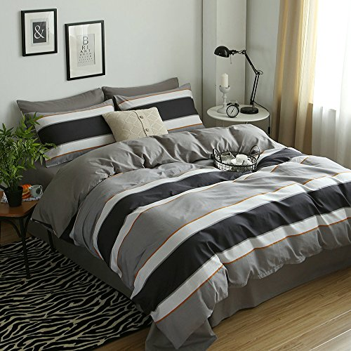 Duvet Covers Pillowcase (Vougemarket Colorful Stripes Pattern Duvet Cover Set Queen,100% Cotton Grey Stripe Duvet Cover Matching 2 Pillowcases for Adults and Men-Full/Queen,Seattle)