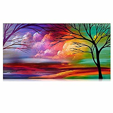 IARTS Trees Modern Wall Art 100% Hand Painted Landscape Oil Painting on Canvas Tree Canvas Art Work Home Decor Size 18x36 Inches Unstretcher No Frame