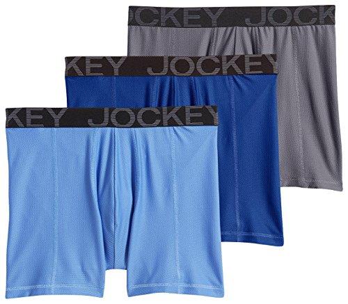 (Jockey Men's Active Mesh Boxer Brief Blue Per/Medium Blue/Lantern Grey)