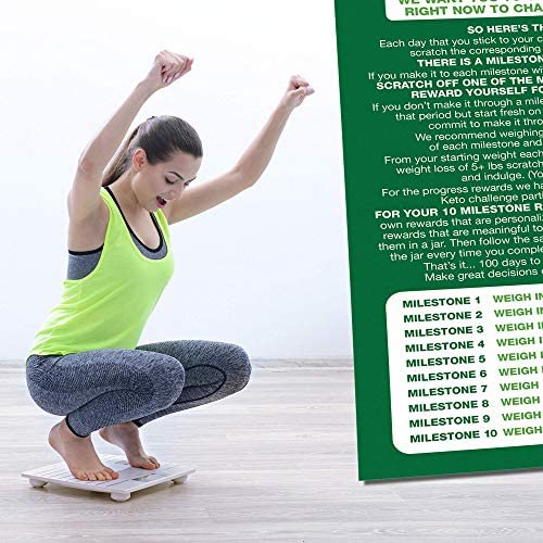 100 Day Keto Challenge Scratch Off Poster. The Perfect Planner for Keto Diet Made Easy with This Friendly Tracker Chart. Keto Accessories to Help You Lose Fat on LCHF Diets. 8