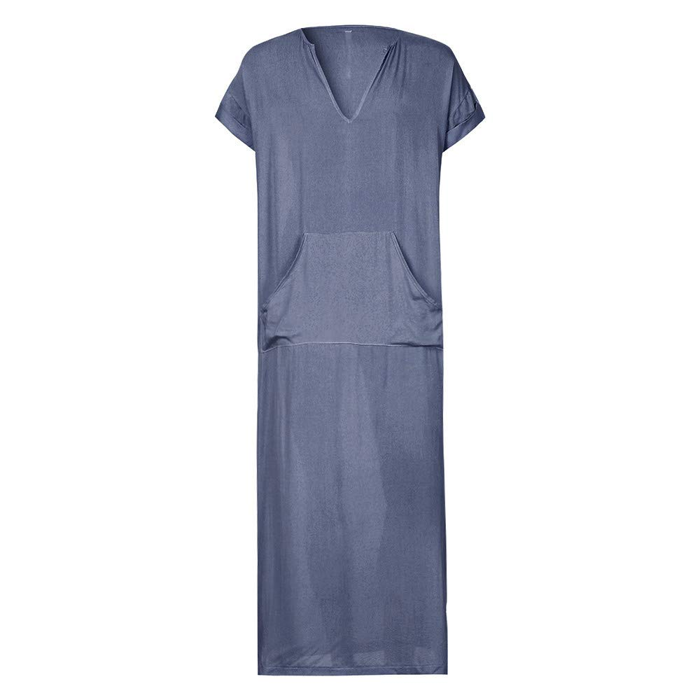 JESPER Mens Solid Ethnic Robes Loose Striped Short Sleeve Thin Vintage Dress Kaftan Gray by JESPER (Image #2)