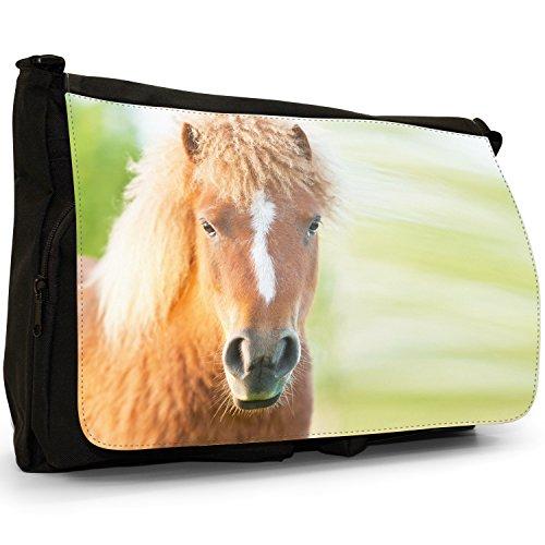 Laptop Little Brown Haired Pony Messenger Large Curly Bag Black Shoulder School Canvas amp; Shetland w7aOxHz