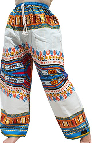 RaanPahMuang Baggy Straight Leg Carnival Dashiki Print Unisex Pants Africa Print, X-Large, New White SkyBlue by Raan Pah Muang