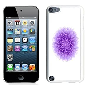 Lovely and Durable Cell Phone Case Design with iOS 8 Purple Flower White Background iPod Touch 5 Wallpaper in White