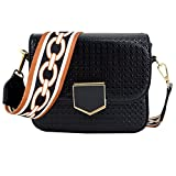 Queena Women PU Leather Embossing Crossbody Bag Square Shoulder Bag Handbag with Removable Wide Strap Black