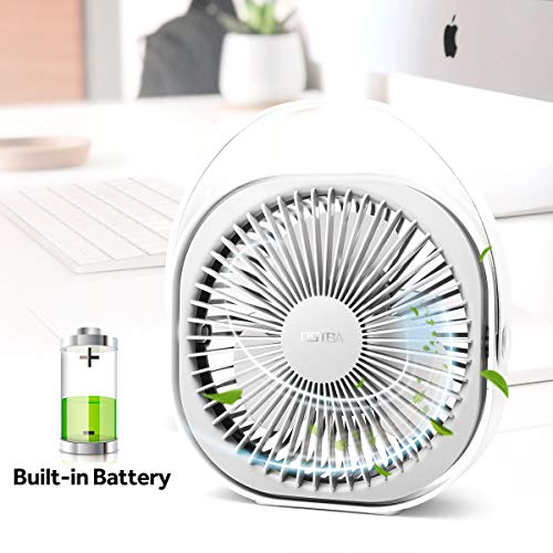Desk Fan 6 Inch Rechargeable Battery Powered Mini USB Fan Ultra Quiet Table Fan with 3 Speeds, Portable USB Personal Fan for Office, Home, Car, Travel, 2000mAh, Includes a ()